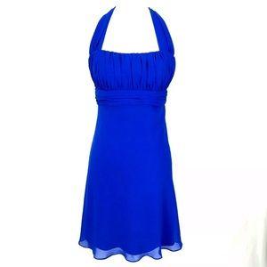 David's Bridal Royal Blue Halter Bridesmaid Dress